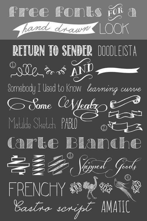 DIY 12 Free Fonts and Dingbats for a Hand Drawn Look Roundup from Uber Chic for Cheap here. I especially like the free dingbats - #4 Cornucopia of Dingbats Three is really good. For more unique fonts that I've posted (monograms, unicorns, famous movie and character fonts, dingbats etc…) go here: truebluemeandyou.tumblr.com/tagged/fonts