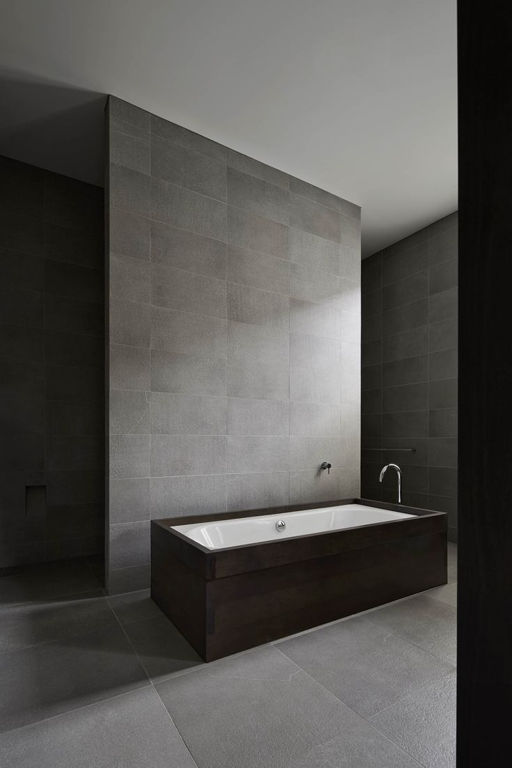 Allways cabin contemporary bathroom perth by ceramo tiles - Winter Street Residence By B E Architecture Dark Tile And Timber Bath With Shower Behind