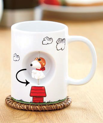 Make any morning coffee or teatime a little more fun with the twirling pal on the side of this Licensed Spinner Mug. One side of the mug has a decorative piece that freely spins in a recessed area. Twirl it as you relax and sip your drink. 12 oz. Ceramic