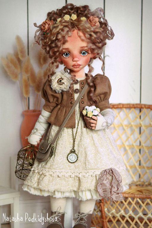 Купить Дениз - бежевый, авторская ручная работа, бохо-стиль, бохо кукла, винтажный стиль