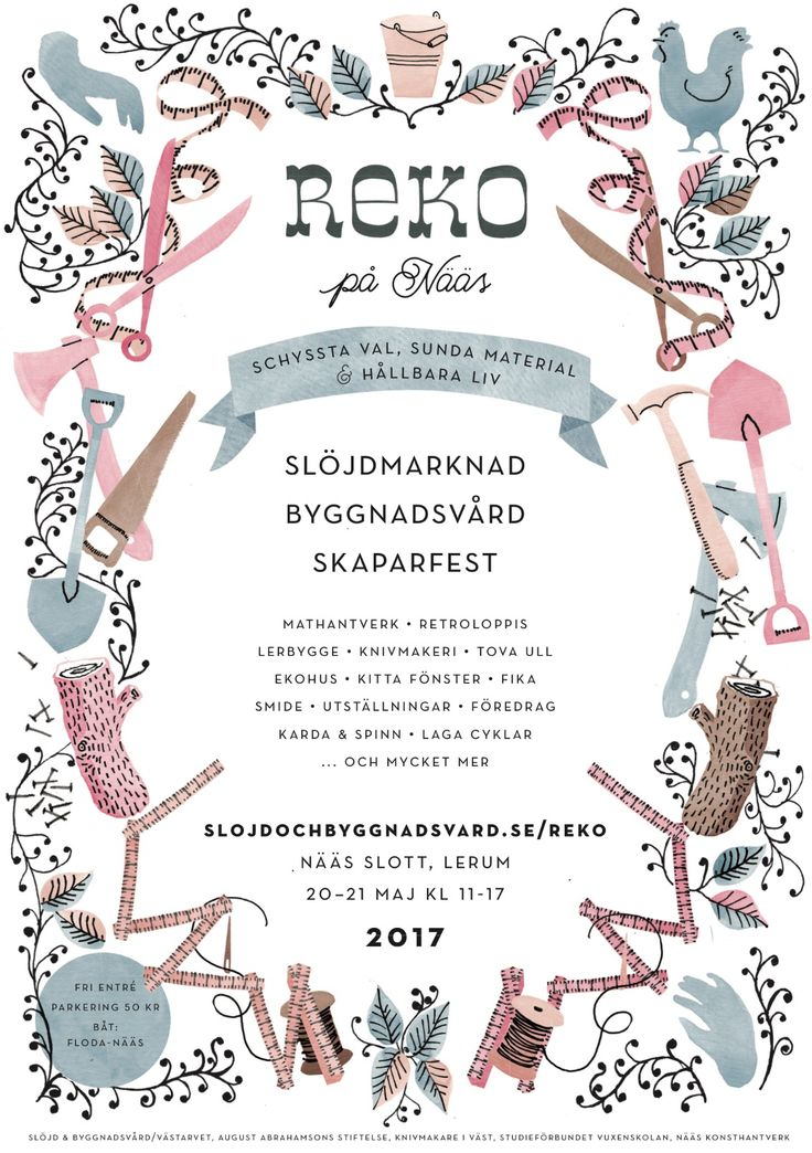 A poster I designed for the swedish REKO festival, a festival for arts and crafts and building techniques etc, focusing on sustainable materials and methods. I worked mostly with watercolour and simple felt tip pens.  /Kajsa Bergström Feiff