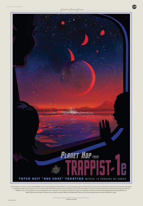Μία από τις ρετρό αφίσες απεικονίζει την φοβερή θέα από τον πλανήτη Trappist 1e. IoA/Amanda Smith