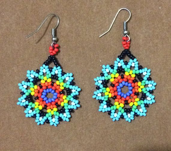 Beautiful earrings huichol Yoguish by CoolturaMexicana on Etsy