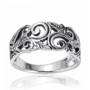 925 Oxidized Sterling Silver 8mm Filigree Leaves Swirl Vine Wreath Ring - Fashion Jewelry for Women - Nickel Free (Available in Size 6,7,8,9)