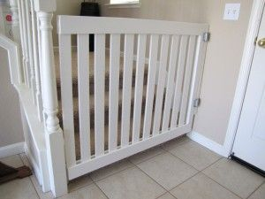 DIY baby gate. This would be perfect for the odd sized doorway into Adriana's playroom that doesn't fit a standard size gate. Project for Steve:)