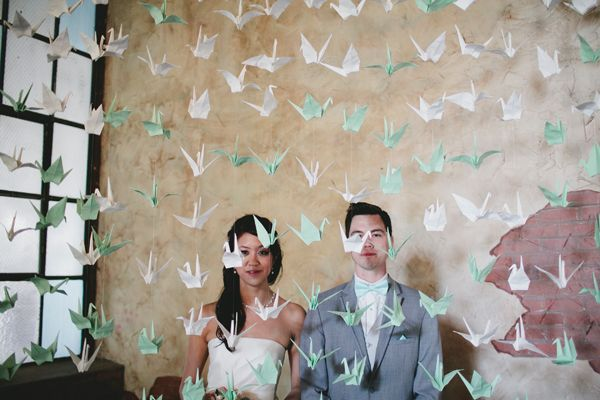 Paper Cranes, Giant Flowers & Chevron. Our wedding was featured on Ruffled! I'm absolutely flattered our photographer Jillian Zamora submitted our big day to share =D