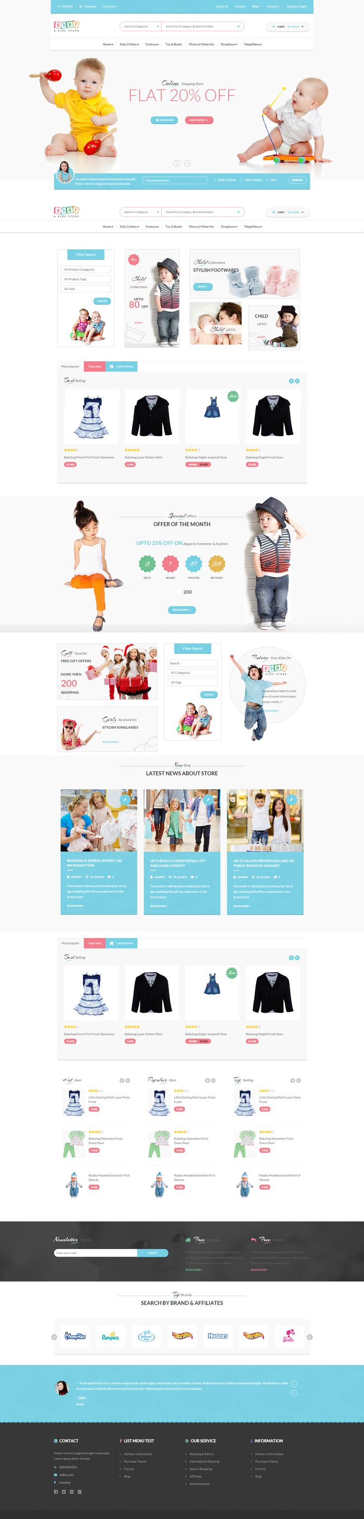 Template Kids Store WooCommerce PSD. For baby / child / kids candy, toys, clothing or fashion e-commerce online shop / store websites.