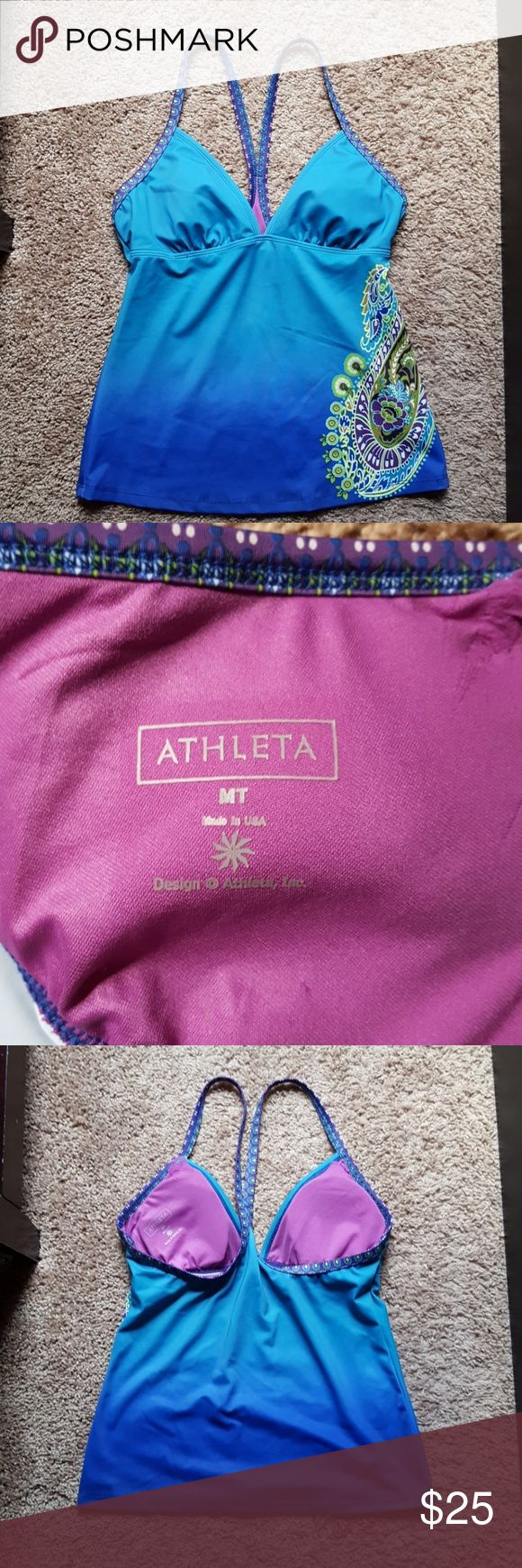 Athleta Dip Dye Tankini Top TOP ONLY! GUC! Gorgeous sea-colored top with purple and lime accents in the paisley. Great top, comfortable and sexy all at once. Worn a handful of times, hand-washed and hang dried. * some wear at cup lining opening, see in picture 4 Athleta Swim Bikinis