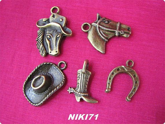 Western Charms in Antique Bronze 1659 1666 by NIKI71 on Etsy, $5.00