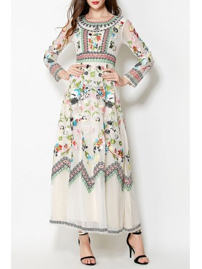 Floral Embrodery Evening Dress OFF-WHITE: Maxi Dresses   ZAFUL