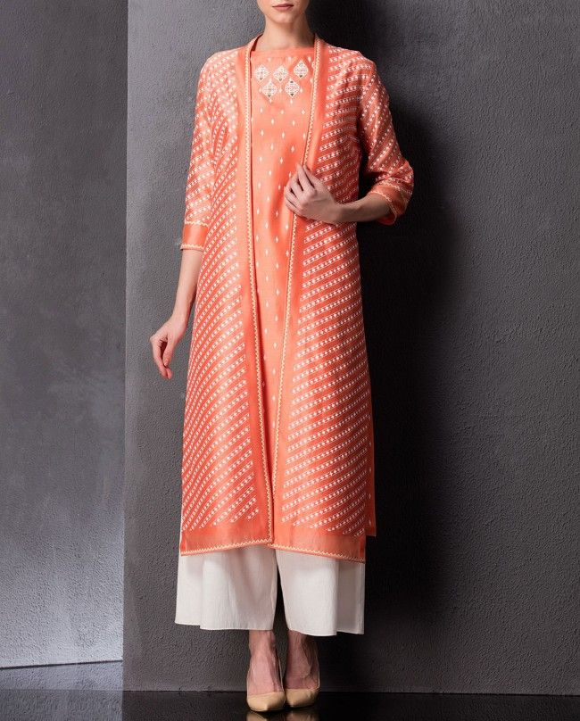 Peach Printed Anarkali Jacket - AM:PM - Designers