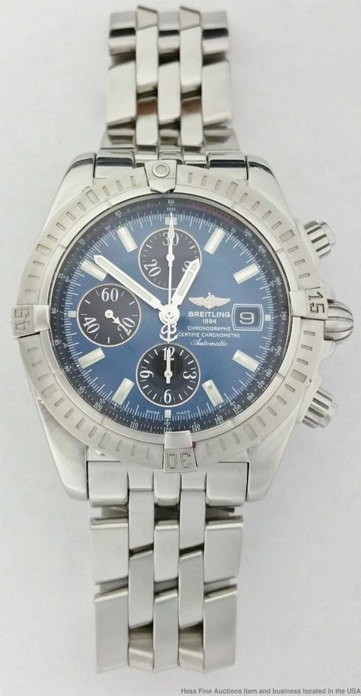 Breitling Chronomat Evolution Blue Dial A13356 Chronograph Large Stainless Mens #Breitling #Casual