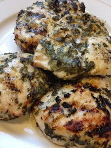 Lemon Basil Chicken recipe - so good!  use 1/2 c lemon juice, 1/2 c dried basil leaves, 1 tsp oregano, pink of salt and pepper.  cook stovetop with pam, 4 minutes each side.