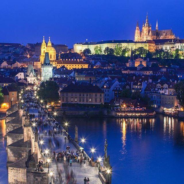 The blue Prague #blue #prague #travel #night #thrill #cityscape