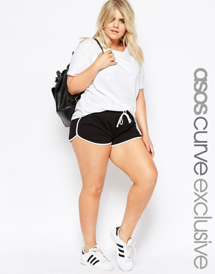 Image 1 of ASOS CURVE High Waist Runner Short with Binding