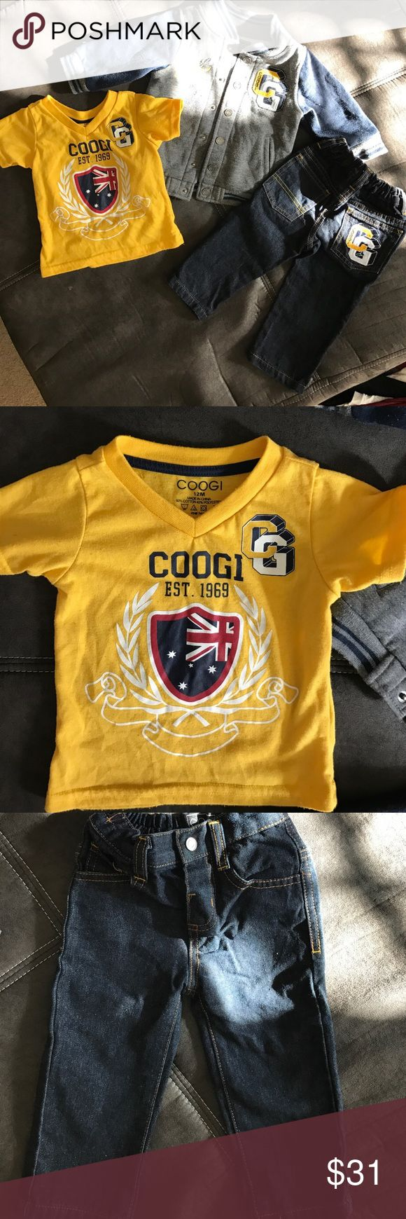 3 piece Coogi outfit Letterman jacket v-neck shirt with jeans size 12M COOGI Matching Sets