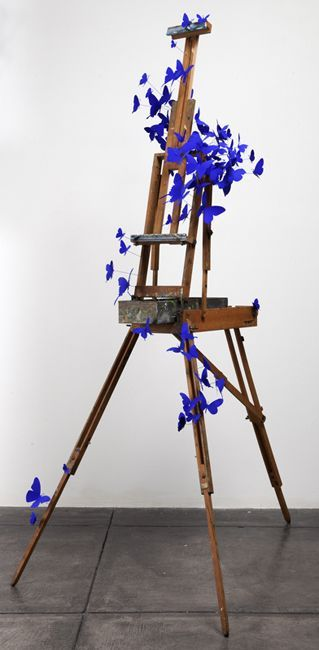 """ Idyll"",2010; French Easel, Aluminum (found cans), stainless steel wire, Flashe, 70"" x 35.5"" x 45.5"":"