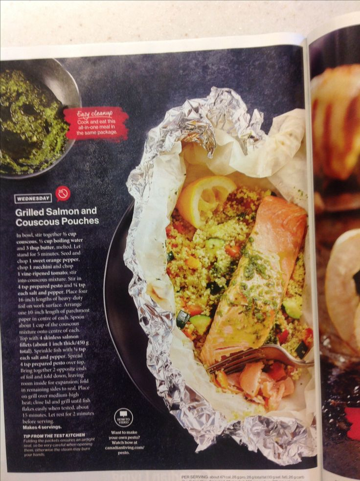Grilled salmon and couscous pouches