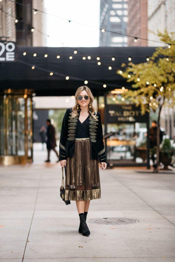 d8872131dac4c Holiday Outfit Idea: Velvet Blazer & Gold Midi Skirt | Fashion ...