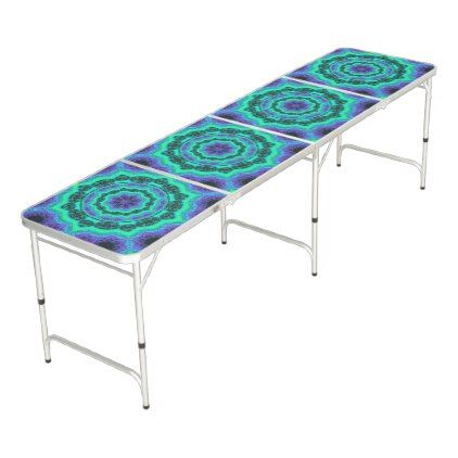 Green Purple And Blue Mandala Pattern Beer Pong Table - chic gifts diy elegant gift ideas personalize