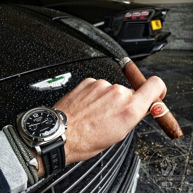 Just another day in the life of @cigarsmokingmodel. #Panerai PAM212 1950's Chrono Flyback with the #StingHD bracelet, #AstonMartin & #Lamborghini #Aventador #PaneraiCentral Panerai Price List