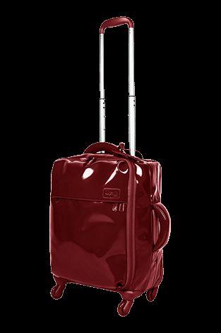 Lipault Plume Vinyle Cabin Luggage 4 Wheels 55cm Ruby