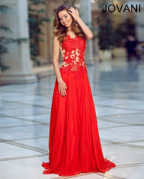 Gorgeous long red lace prom dress 2014, featuring lace applique bodice, flowing skirt with a slit