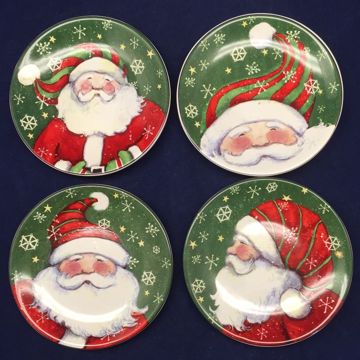 """Lot of 4 Susan Winget Santa Dip Dishes Coasters Snowflakes Christmas 4.5"""" Dia Microwave and Dishwasher Safe 4.5"""" diameter clean, no chips or cracks"""