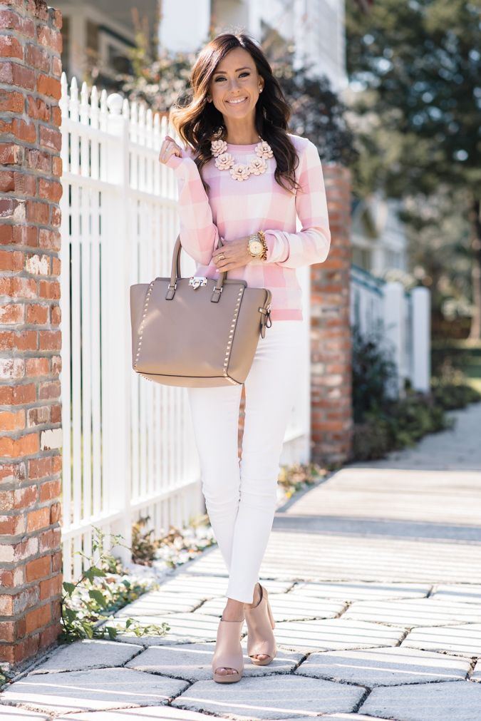 PINK GINGHAM SWEATER + BEADED NECKLACE   Sequins & Things
