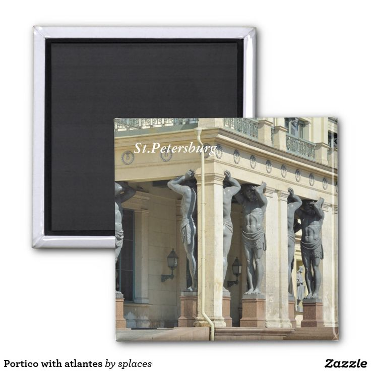 Portico with atlantes. St.Petersburg, Russia 2 inch square magnet
