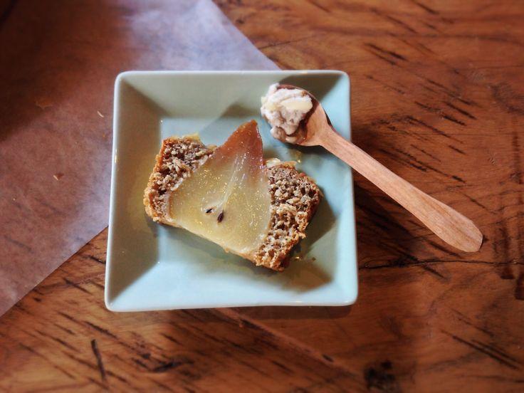 from banana cake recipe, change fruit for pears. http://www.seriouseats.com/recipes/2013/02/make-ahead-banana-oatmeal-bread-recipe.html