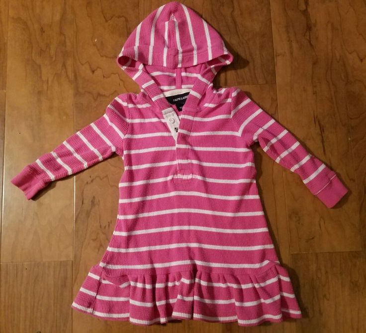 Ralph Lauren Polo Baby Girl Hooded Henley Dress Pink & White Striped 12 Months | Clothing, Shoes & Accessories, Baby & Toddler Clothing, Girls' Clothing (Newborn-5T) | eBay!