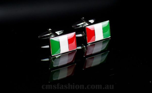 Italian Cufflinks #cufflinks #mensaccessories #mensfashion #italy#noveltygift #italianflag #accessories www.cmsfashion.com.au