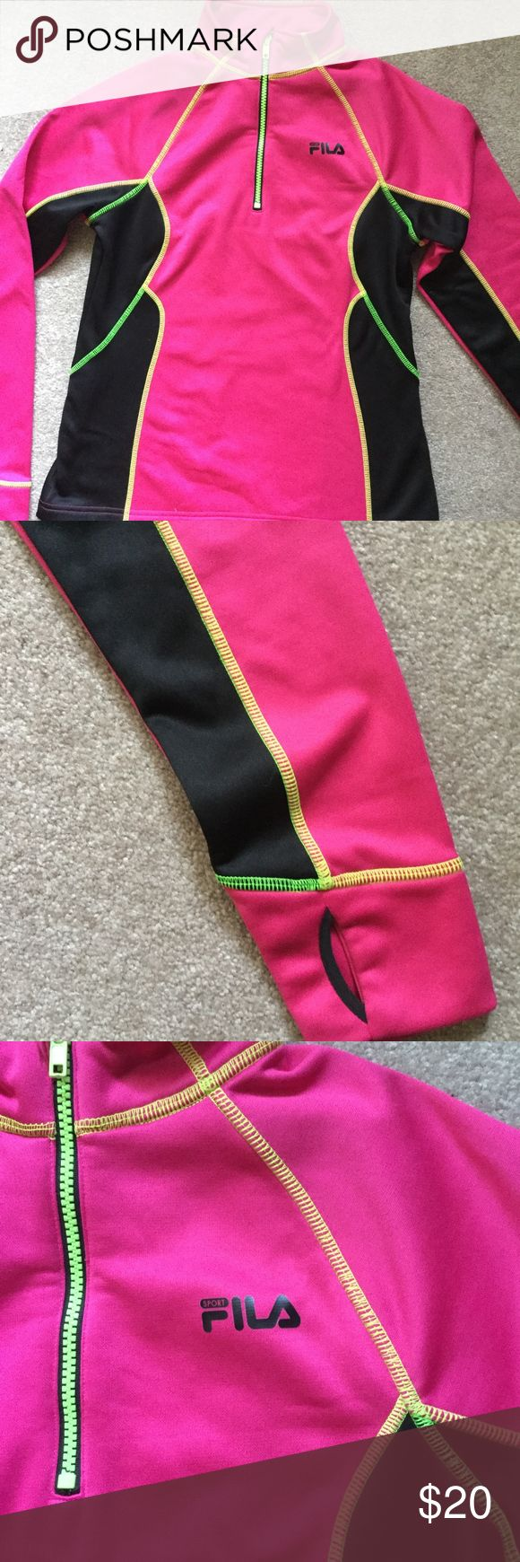 FILA Small Neon Running Jacket! Fill Small Bright pink, neon yellow, and black accents! Thumb holes and fleece lined. 100% polyester :) Slim fit look great condition worn a few times! :) Colors are awesome!! Fila Tops Sweatshirts & Hoodies