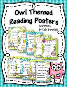 """Owl"" Themed Reading Motivational Posters.  Cute and colorful posters perfect for decorating your bulletin boards or walls with a cute owl theme.  $"
