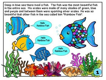 The Rainbow Fish -Story Sequencing- Re-telling Visuals-FREEBIE
