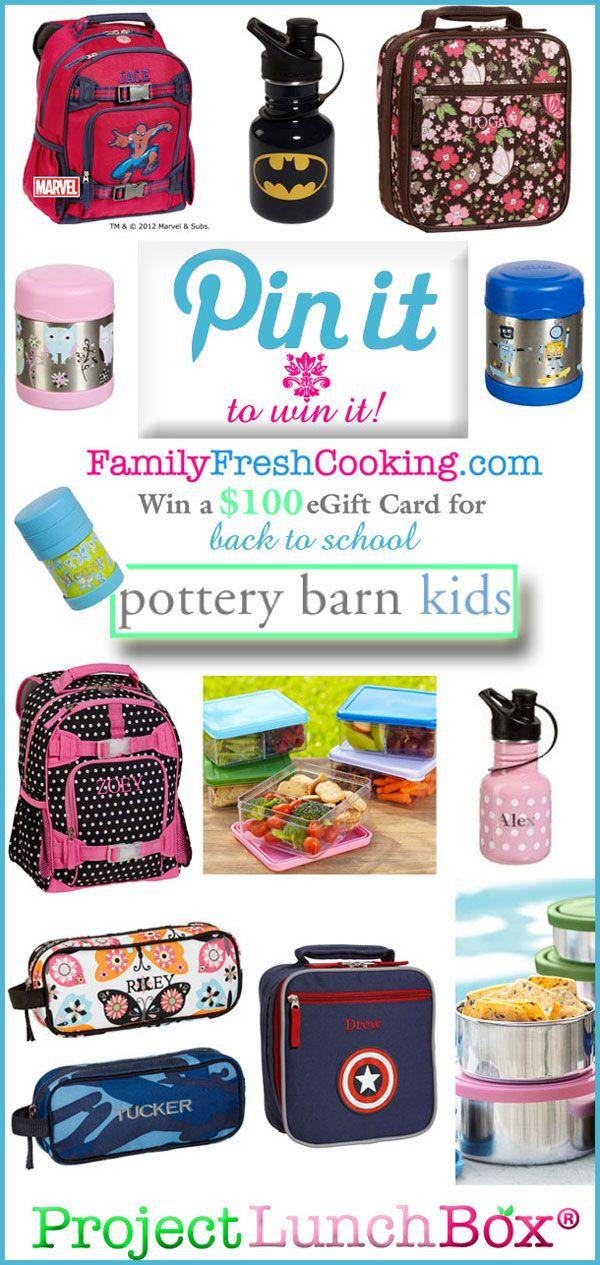 Pin it to Win it! Pottery Barn Kids | Back to School Bucks { Giveaway }  on FamilyFreshCooking.com @MarlaMeridith #potterybarnkids #projectlunchboxMarlameridith Potterybarnkids, Pottery Barn, Backtoschool