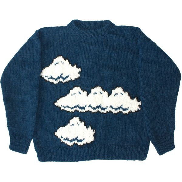 Wool Sweater: Mario Bros. Clouds nintendo vintage brothers super nes... ($30) ❤ liked on Polyvore featuring tops, sweaters, jumpers, shirts, blue sweater, wool shirt, wool jumper, cuff shirts and shirt sweater