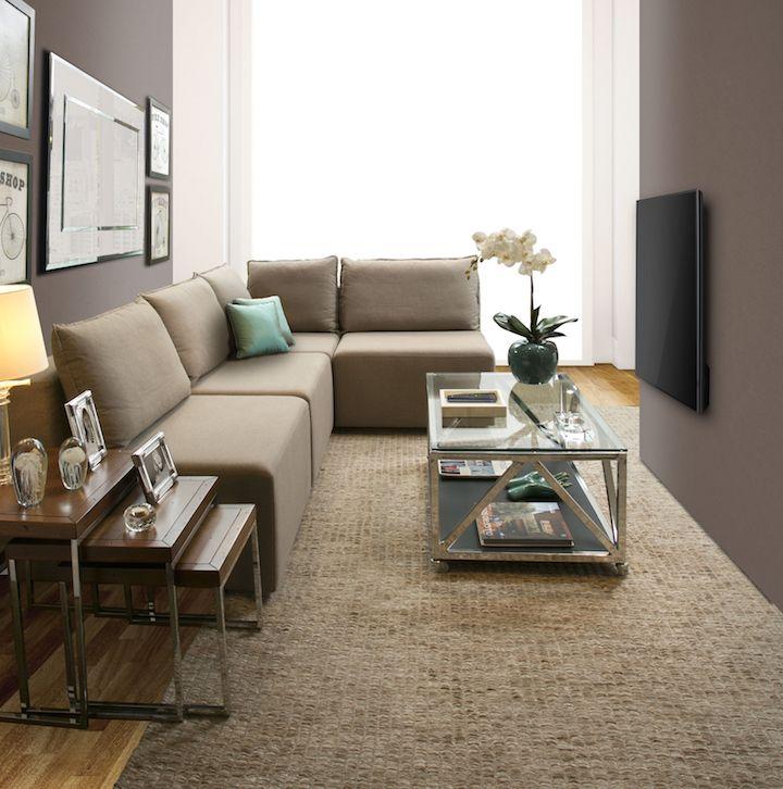 Sofá Lugano com configuração de canto e sem braços, ideal para salas compactas.