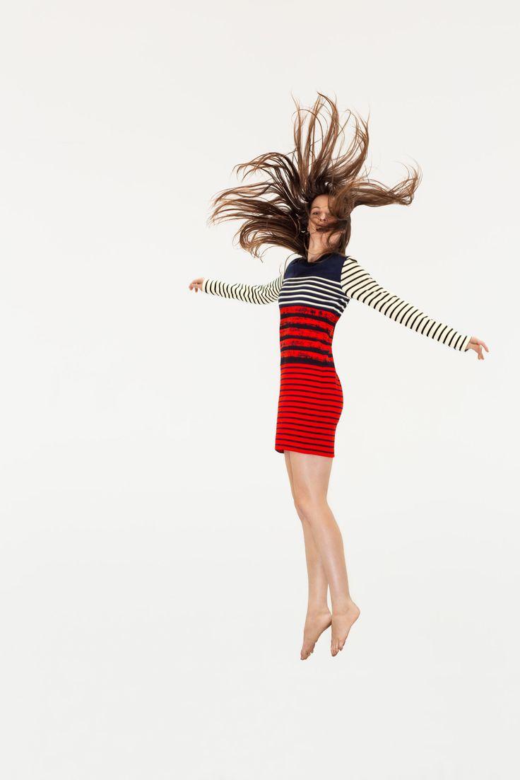 Petit Bateau x Cédric Charlier women's fitted dress, contrasts sailor stripes and painted stripes. - http://www.petit-bateau.fr/?CMP=SOC_11732SOU=TYP=SOCKW=pinterest #petitbateau #cedriccharlier #dress