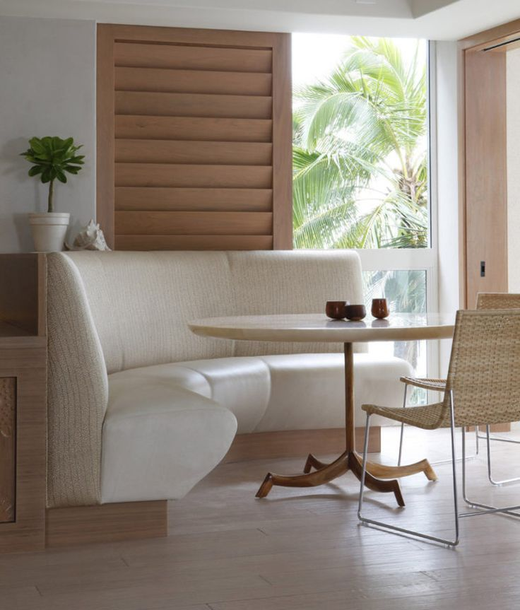 White Upholstered Curved Bench With Round Table And Rattan Wicker Chair  Placed On Wooden Floor As Well As Dining Stools And Benches Plus Wood Dining  Bench ...