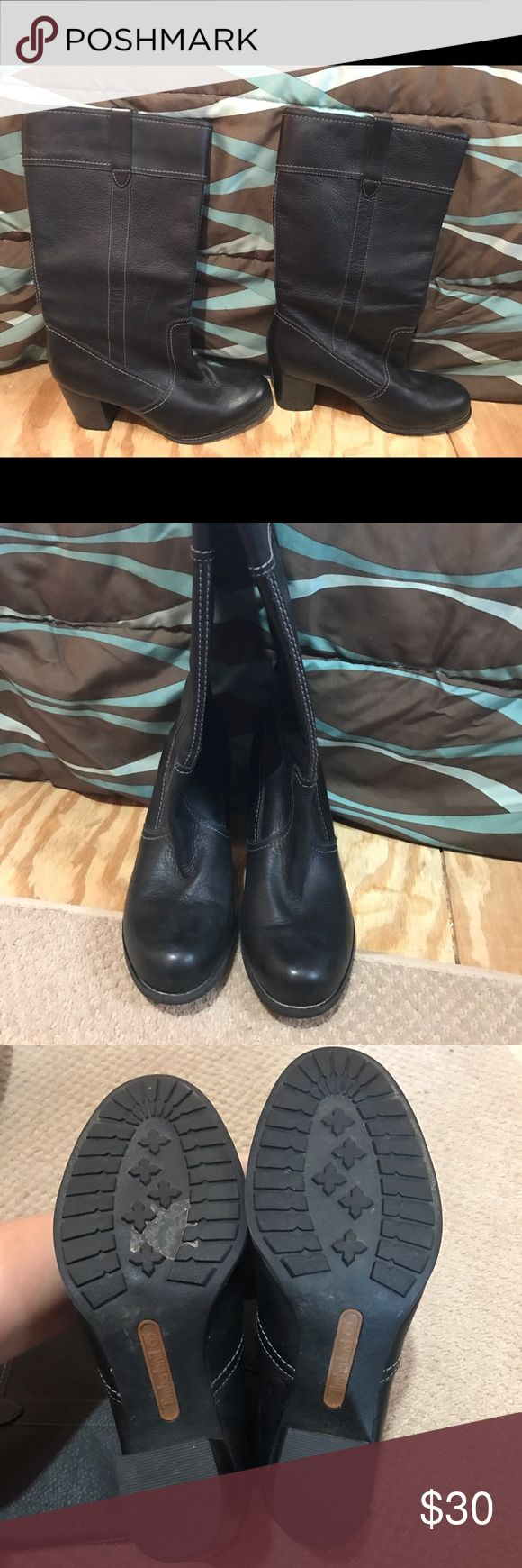 Real leather Timberland boots. Like new! Real leather black Timberland boots. Like new! Timberland Shoes Heeled Boots