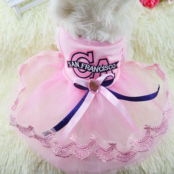Perro cachorro de verano vestido de princesa vestido de ca hilo de encaje falda perro mascota