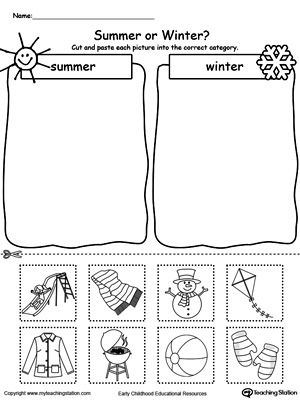 sorting summer and winter seasonal items sorting categorizing worksheets printable. Black Bedroom Furniture Sets. Home Design Ideas