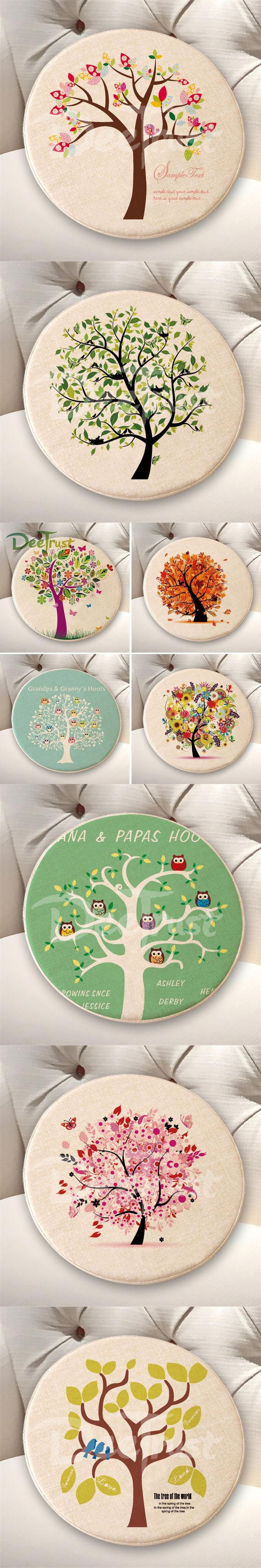 Pastoral Cotton Linen Owl Tree Pillow Round Seat Cushion Thick PP Cotton Plant Throw Pillow Flower Tatami Washable Cojines Silla