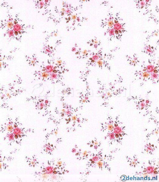 Engels bloemen behang roze m21 - Te koop   Tweedehands.nl