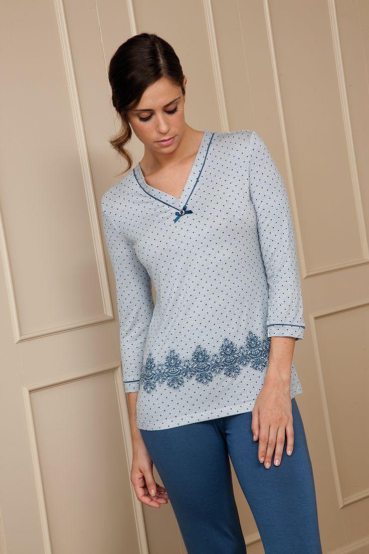 Pijama femenino en tejido viscosa #blue #azul #pijama #egatex #sleepwear