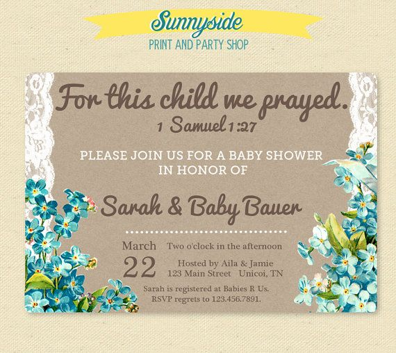 For This Child We Prayed.    1 Samuel 1:27 inspired baby shower invitation featuring vintage blue florals