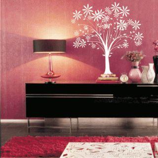Наклейка для дома от 2stick.ru Дерево с узорчатыми цветами