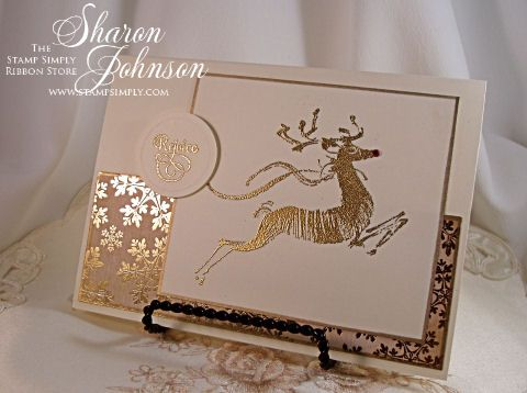 handmade Christmas card from No Time To Stamp? ... clean and simple design ... gold embossed deer ... gold foiled snowflakes ... elegant ... Penny Black